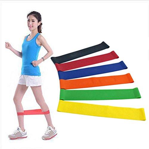 Jaminy Frauen Taille Yoga Fitness Leggings Running Gymnastik Stretch Sporthosen Skinny Hose/6 Level Widerstand Übung Loop Bands Home Gym Fitness Naturlatex Set von 6 (6 Farbe, 6)