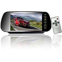 """7"""" Coche Auto Monitor En-Espejo LCD Pantalla HD 800x480, 12V-24V Universal para Camión Espejo Montar Clip 2 RCA Entrada para Reserva Cámara / Trasero Vista / DVD /Medios Jugador"""