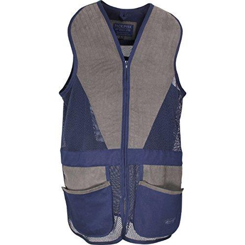 Jack Pyke Sport Tiro Al Piattello Gilet Da Tiro, Caccia Piattello Abbigliamento A Contrasto Scamosciato Orlo Maglia - Blu navy/Grigio, XL