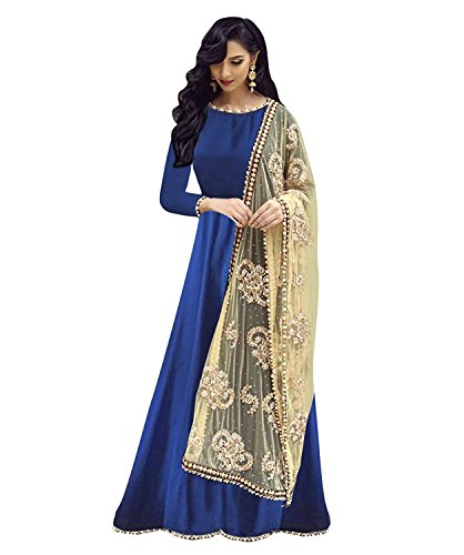 Rangrasiya Womans Silk Designer Party Wear Maroon Anarkali Salwar Suit (Blue)  available at amazon for Rs.629