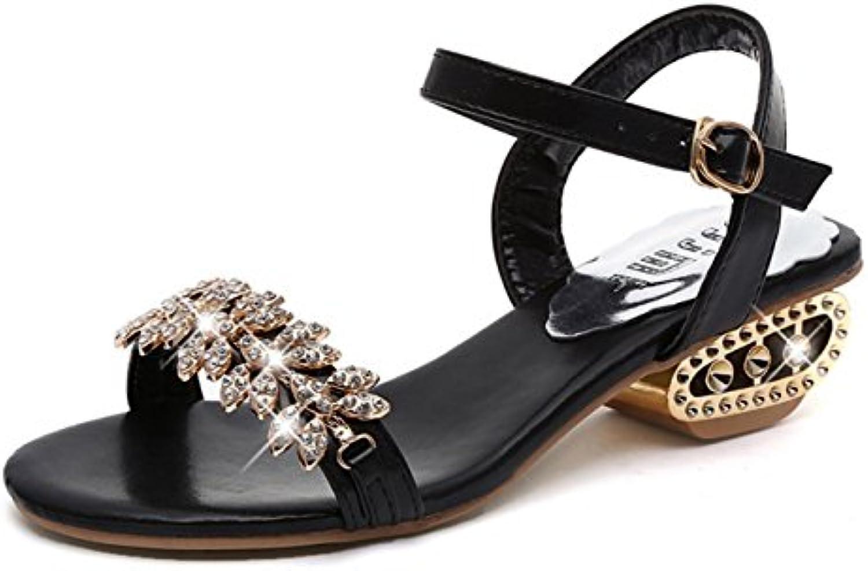 CYGG Damen Sandalen Strass Schnalle Low-Heels Casual Damen Schuhe Abendschuhe Tanzschuhe