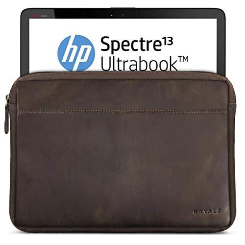 ROYALZ Tasche Leder für HP Spectre x360 Ledertasche (auch mit HP EliteBook x360 kompatibel) (13.3 Zoll) Lederhülle Hülle Sleeve Cover Schutztasche Schutzhülle Etui Vintage, Farbe:Dunkelbraun Matt
