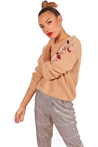 chameau Femmes Mischa Scallop Trim Embroidery Jumper chameau