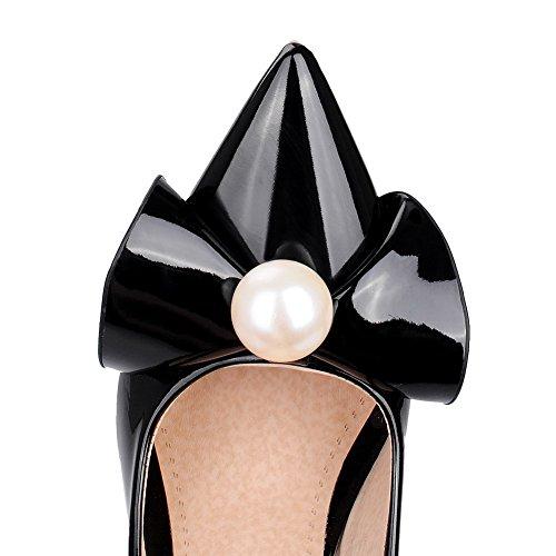 VogueZone009 Femme Pointu Stylet Couleur Unie Tire Chaussures Légeres Noir