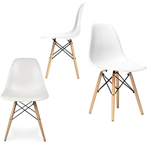 FB FunkyBuys Style Eiffel rétro Eames DSW DSR Chaise en bois et plastique pour bureau Salon salle à manger de cuisine Chaise design Panton Blanc