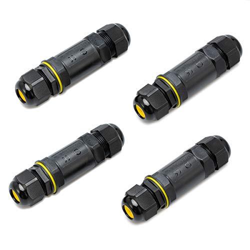 5-Polige Verbindungsmuffe Kabelverbinder Muffe Wasserdicht IP68 Verbindungsbox für Ø1-14 mm Kabeldurchmesser (4 pack) - Muffe Abs