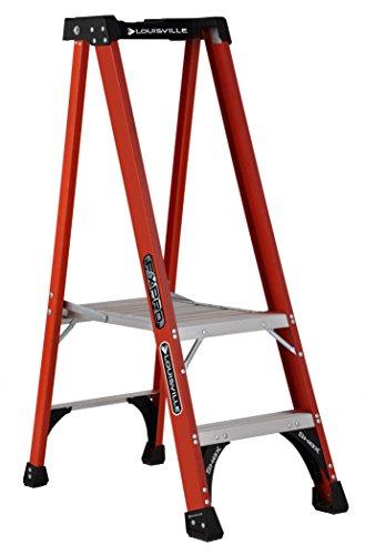 Louisville escalera fxp1800Pro de fibra de vidrio plataforma escalera, tipo IAA, 375-pound capacidad de carga