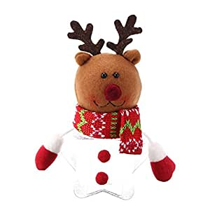 Vodool Santa Claus Elk Snowman Candy Jars Container Round Pentagram Gift Box(2)