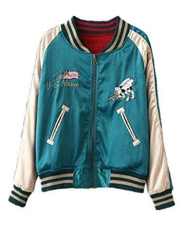 Ecollection Damen Jahrgang Bomberjacke Stickerei Klassisch Bikerjacke Mantel Vintage Bomber Jacket Seabees Crane Embroidery Classic Zip up...