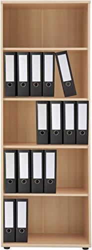 VCM Regal Büroregal Bücherregal Aktenregal Ordnerregal Schrank Büromöbel Omegos 4 Breite 65 cm, Buche