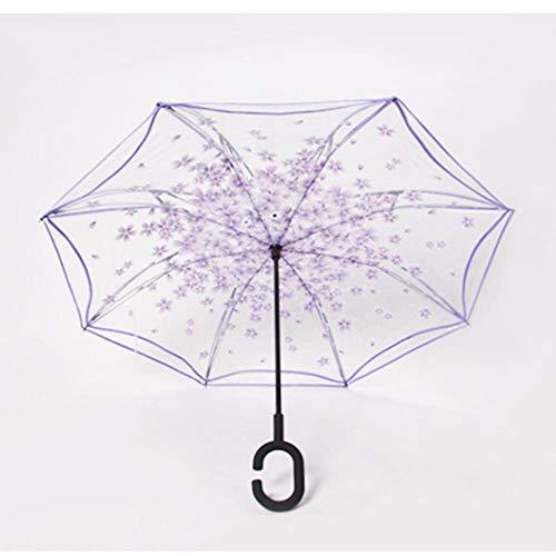 Regenschirm Regenschirme Windfestreverse Transparent Regenschirm Doppelschicht Inverted Windproof C Griff Winddicht Regen Auto Regenschirme Für Frau Regen Getriebe, Lila 1