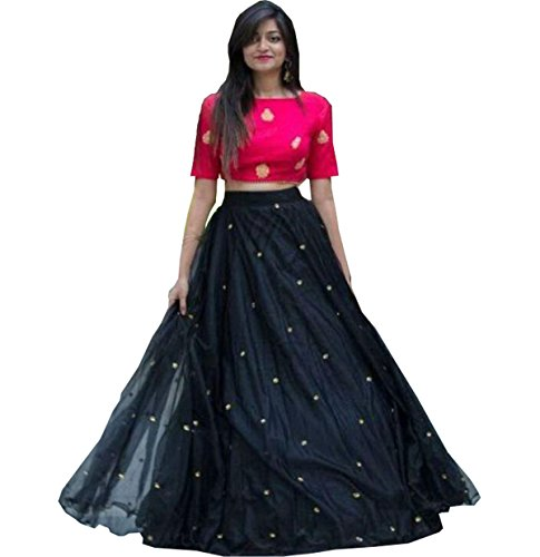 KajalFashion Women's Silk Black Lehenga cholis (SC_X_482_Black_Free Size)