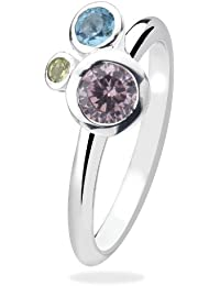 Virtue Silver Stackable VRS3031 3 Coloured Round Cubic Zirconia Ring