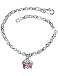 SilberDream Kinder Armband Schmetterling Zirkonia rosa 925 Sterling Silber SDA024