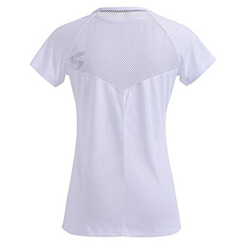 Meliwoo Damen T-shirt Sport Tank Top - Gym Laufshirt Kurzarm Rundhals Weiß