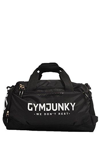 GYMJUNKY SPORTS BAG SCHWARZ/WEISS SPORTTASCHE FITNESS KRAFTTRAINING DUFFLE BAG - 2