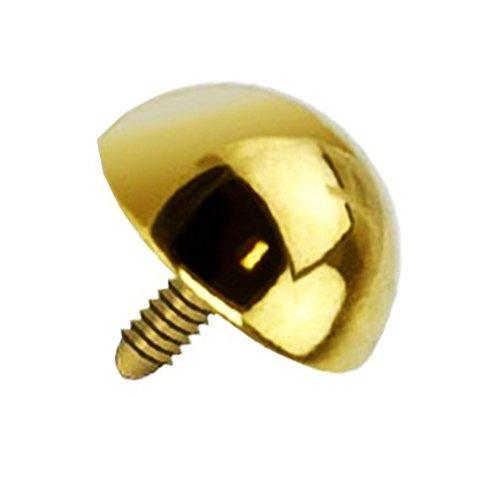 Piercingfaktor Micro Dermal Anchor Piercing Skin Diver Anker Aufsatz Halb Kugel Aufsatzkugel Ball Flach Edelstahl Stecker mit Perle Halbrund Gold 5mm