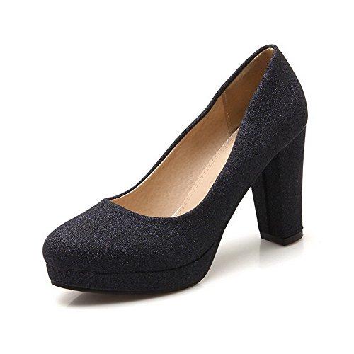 VogueZone009 Femme Tire Tissu à Paillette Rond à Talon Haut Couleur Unie Chaussures Légeres Noir