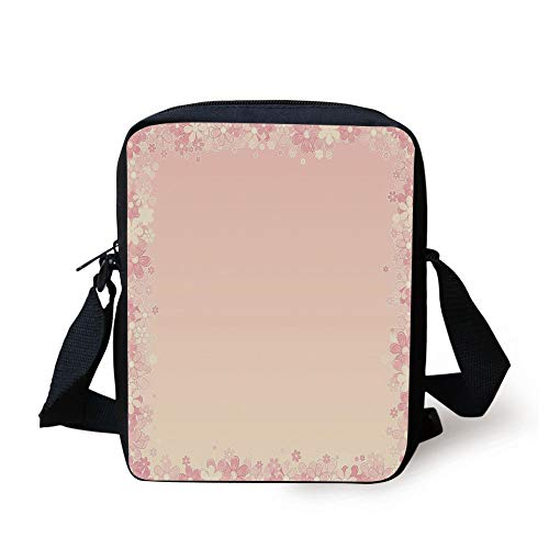 LULABE Light Pink,Floral Wreath Frame with Bunch of Flower Beauty Fragrance Feminine Girls Decorative,Peach Light Yellow Print Kids Crossbody Messenger Bag Purse