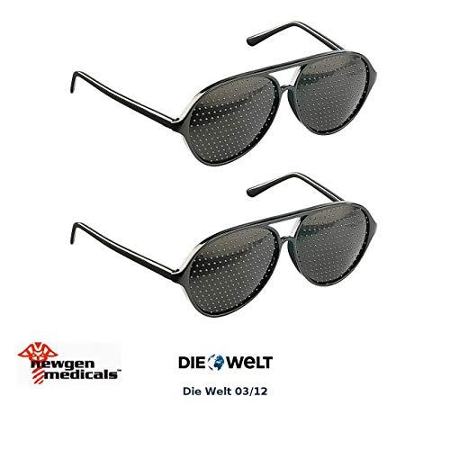 newgen medicals Raster-Brille: 2er-Set Lochbrille (Rasterbrille) - der Augentrainer (Lochraster-Brille)