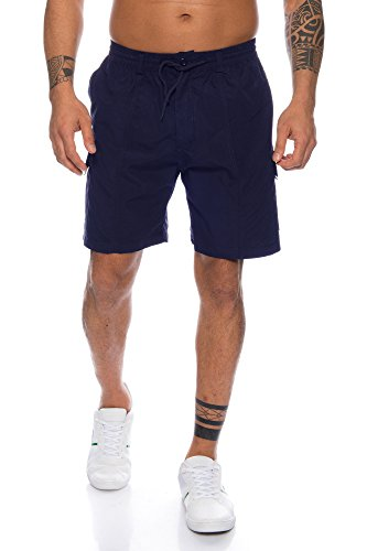 Blau Karierte Cargo-shorts (Fashion Herren Shorts Bermuda Kurze Hose Cargo Dehnbund ID231, Größe:L;Farbe:Blau)