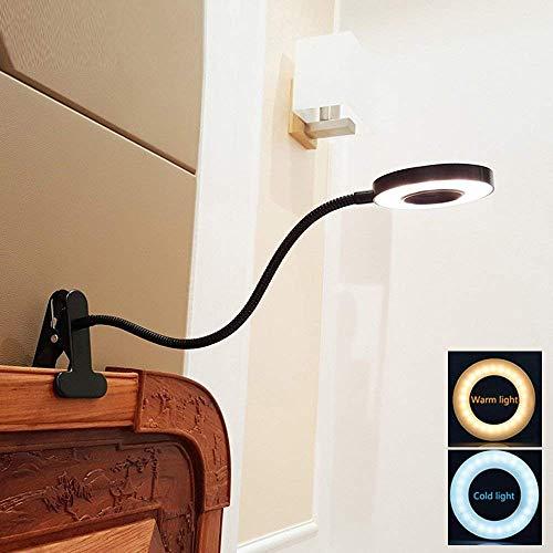 LED Klemmleuchte Bett Leselampe Kleine Schreibtischlampe Klemmlampe Clip Tischlampe 6W Schwarz mit 2 Lichtfarben: Kaltweiß und Warmweiß (Ohne Adapter) (Nicht Dimmbar) - NEU