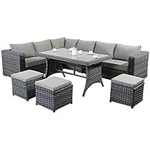 West Country mesa esquina sofá–Color: gris–consta de un gran sofá de esquina de tres Modular dos plazas sofás, una parte superior de cristal mesa de comedor y tres reposapiés de ratán muebles de jardín