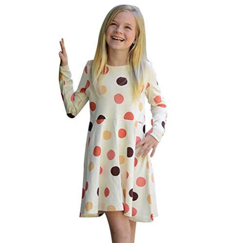 DIASTR Babykleidung Kleinkind Kinder Baby Mädchen Lange Ärmel Dot Drucken Prinzessin Freizeit Kleid Midi Kleid Lässig Partykleider (6m-5t)