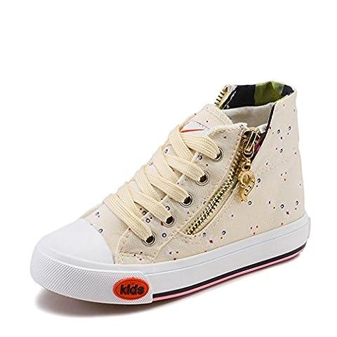 Basket mode fermeture éclair chaussure en toile florale sneakers pour princesse moderne slip-on chaussure creeper confort enfant fille antidérapant beige 25