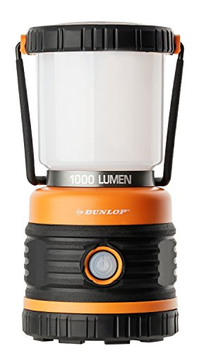 DUNLOP Outdoor Camping Leuchte LED   1000 Lumen   4 Leuchtmodi   Dimmbar   Stoßfest, Kratzfest+ Spritzwasser geschützt IP44   46 SMD