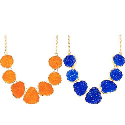 2 Stücke Damen Drusy Stein Perle Statement Halskette Klumpig Halsband Funkelnd Schmuck (Blau, Orange)