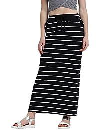 TEXCO Women Striped Tie-up Waist Maxi Skirt