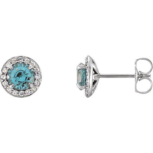 Ohrringe mit echtem Aquamarin und 1/6 Karat Diamanten, Halo-Style, inkl. gratis Schmuckgeschenk - Und Halo Diamant Ring Aquamarin