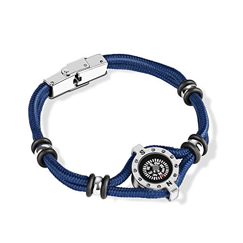 Leder Seil Armband multifunktionale Outdoor Armband Überleben Titan Stahl Kompass Camping Abenteuer Bergsteigen (Eine Richtung-seil-armbänder)