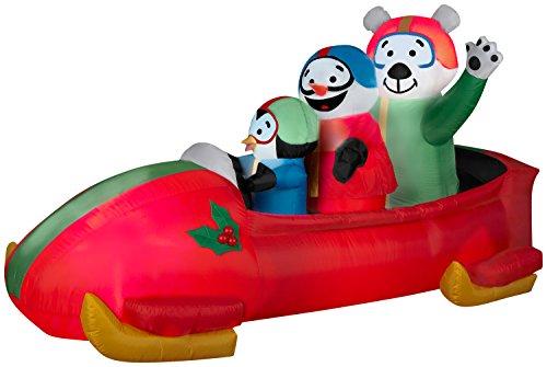 Arett Sales Gemmy Airblown Aufblasbare Animation mit Pinguin, Schneemann und Eisbär im Inneren - Indoor Outdoor Hof-Dekoration, 2,1 m lang x 91,4 m hoch x 0,9 m breit (Dekorationen Weihnachten Aufblasbar Hof)