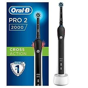 Oral-B Pro 2 2000 Elektrische Zahnbürste, wiederaufladbar, 1 schwarzer Griff mit Ladegerät, 1 CrossAction Kopf