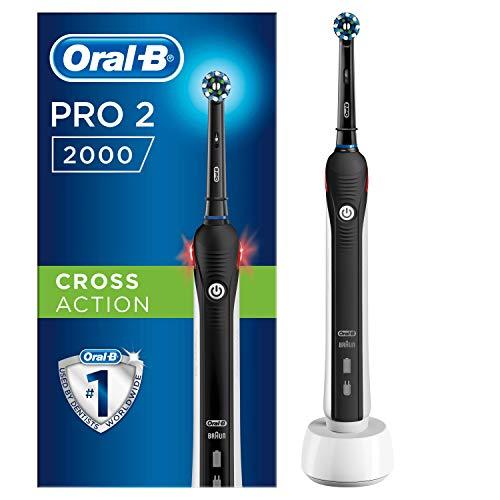 oral-b pro 2 2000 spazzolino elettrico ricaricabile, 1 manico nero con caricatore, 1 testina crossaction