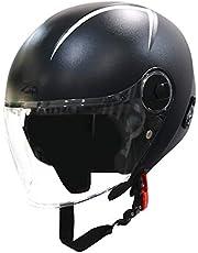 Steelbird SBH-20 Zip Reflective Open Face Helmet (Large 600 MM, Dashing Black with Plain Visor)