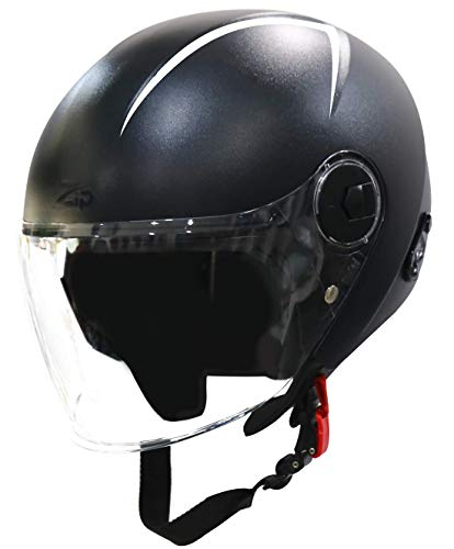 Steelbird SBH-20 Zip Reflective Open Face Helmet (Large 600 MM, Dashing Black with Plain Visor)