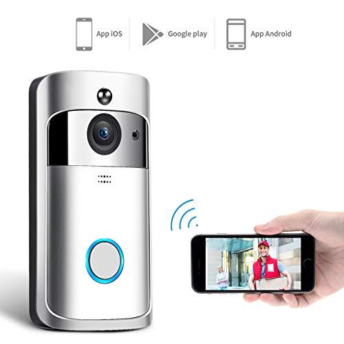 TGDY Doorbell Video-Türklingel Zwei-Wege-Gespräch HD, Video-Türklingel WiFi-Überwachungskamera, Video-Türklingel Nachtsicht PIR Motion Detection Control für iOS, Android und Coogle,Silver -