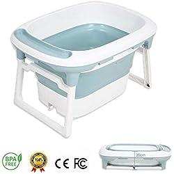 Baignoire Bébé, RuiDaXiang 2 en 1 Baignoire Pliable pour Enfant de 0-5 Ans avec Siège de Bain de Sécurité et Bouchon de Drainage (Bleu)