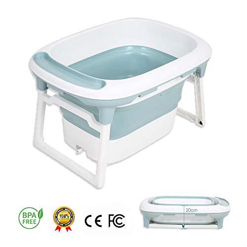 Vaschetta Bagnetto per Bambini, RuiDaXiang 2 in 1 Vasca da bagno pieghevole con sedile di sicurezza e tappo di scarico, 0-5 anni (blu)