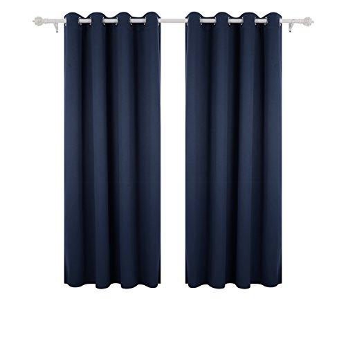 Deconovo tende per casa moderne oscuranti termiche isolanti tende per la cucina con occhielli 140x175 cm blu navy 2 pannelli