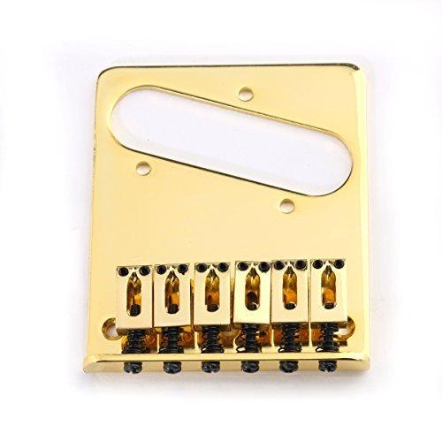 Musiclily Telecaster Puente con 6 Silletas para Guitarra estilo T, Oro