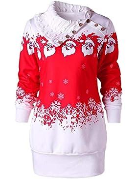 Samber Jerséy Mujer Invierno para Navidad Suéteres de Punto Creativos para Fiesta Sudadores sin Capucha