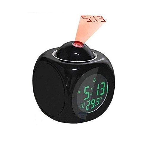 Pawaca Despertador de Proyección, indicador de Temperatura Digital LCD de Repetición de Alarma Reloj de Mesa con Voz telefónicas y 2Modos de Diseños Diferentes de Tiempo, Negro, G