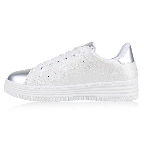 Sapatos Lace Prata Esportivas Senhoras De Agueda Branco Sapatos Sapatilhas Óptica Básicos Couro gw1wXx