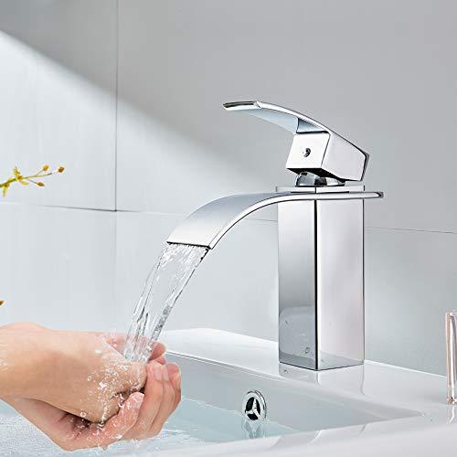 Auralum – Moderne Wasserfallarmatur für Waschbecken, Chrom - 9