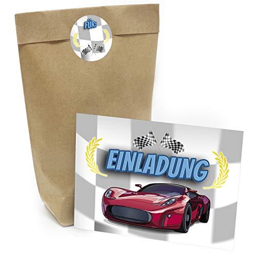 Praktisches Kindergeburtstag Set mit 16 Geschenktüten (Party-Tüten), Einladungskarten und Aufklebern Motiv: Kart fahren/Auto Geburtstag