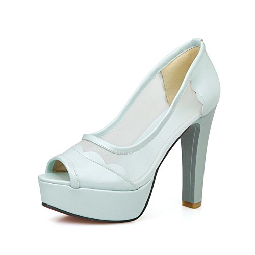 Adee Damen dance-ballroom High-Heels Polyurethan Sandalen, Blau - Hellblau - Größe: 39